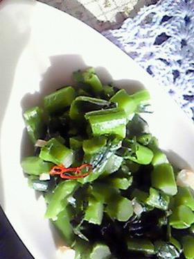 かき菜のにんにく&オリーブ炒め