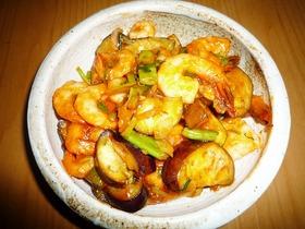海老と茄子のオイマヨ炒め