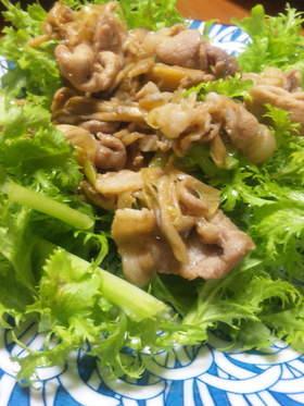 豚肉と葱のコチュジャン炒め☆わさび菜のせ
