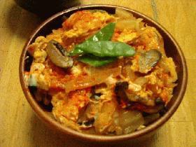 キムチの卵とじ丼
