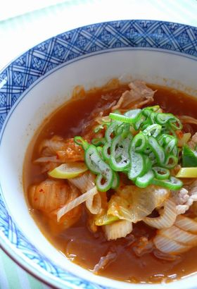 ★プチプチ海藻麺でキムチうどん風★