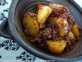 ジャガイモとひき肉のピリ辛炒め