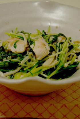 鶏と水菜で爽やかレモン炒め