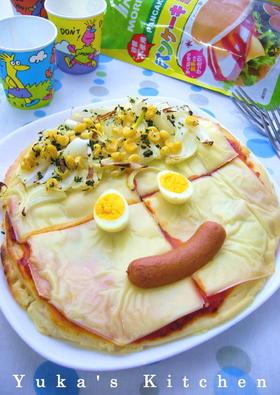 パンケーキミックスのお絵かきピザ