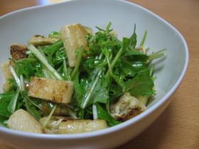 水菜と油揚げの梅味サラダ