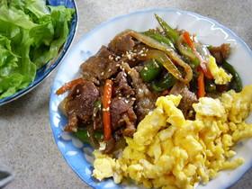 ふわふわ卵とラム肉のビビンバ風丼
