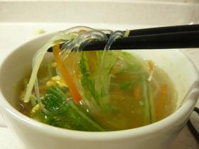 *水菜と新にんじんのはるさめスープ*