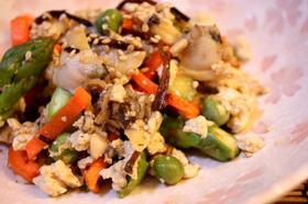 塩昆布で♪あさりとアスパラの炒り豆腐