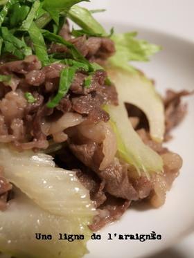 牛肉とセロリの柚子胡椒炒め。