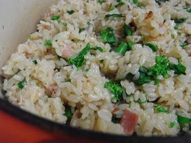 菜の花とベーコンの炊き込みご飯