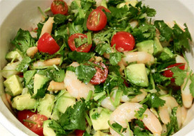 さっぱり味のエビと香菜のサラダ
