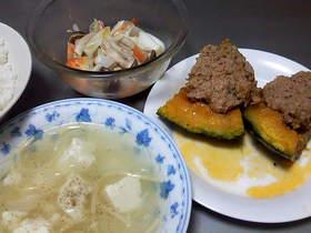 【簡単】一度に3品:南瓜の肉詰め蒸し他