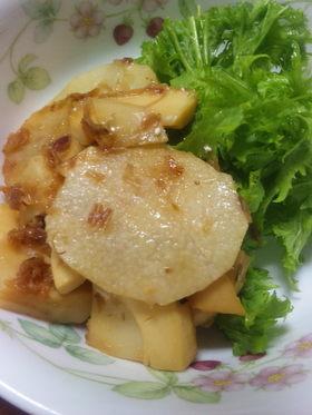 タケノコと長芋のバター醤油炒め