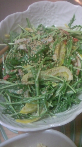 彩り重視の水菜の簡単サラダ