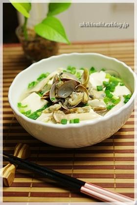 あさりと豆腐の中華風スープ 麺もいいね!