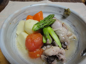 塩鶏と春野菜の煮込み♪柚子胡椒でどうぞ