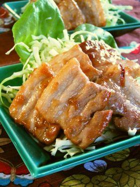 豚バラの味噌照り焼き