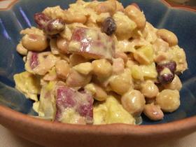 さつまいもと豆のカレーマヨサラダ