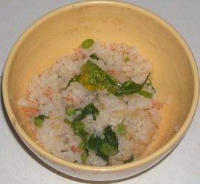 鮭&菜の花のすき焼き風味炊き込みご飯