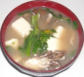 菜の花&舞茸&豆腐の味噌汁