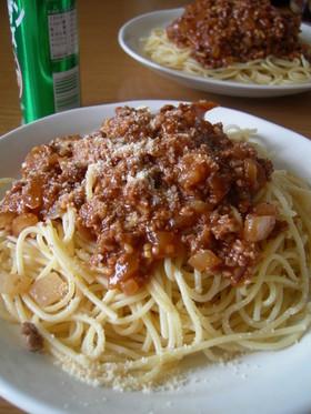 我が家のミートソーススパゲティー