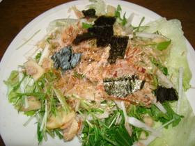 和風な水菜のしゃきしゃきサラダ