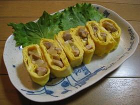 鶏むね肉と新玉ねぎの柚子胡椒風味の卵焼き
