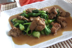 鶏肉と青梗菜のオイマヨ炒め