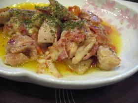 鶏とトマトのチーズ蒸し焼き