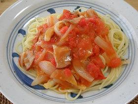 新たまねぎとトマトのかんたんパスタ