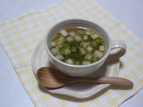 ヘルシー♪めかぶと大根のスープ