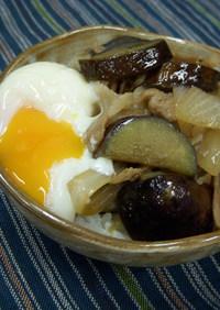 豚バラ&茄子&新玉葱の甘辛丼