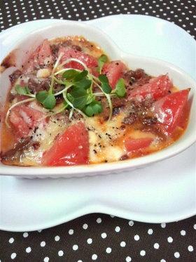 ☆納豆とトマトのスイートチリチーズ焼き☆
