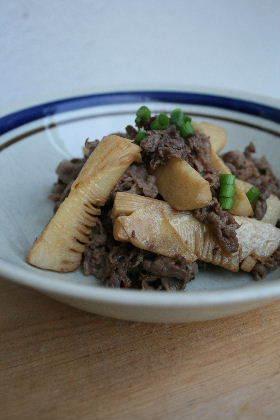 たけのこと牛肉のシンプルな炒め物