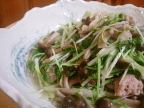 水菜と豚肉炒め 味付けは塩胡椒だけ♪