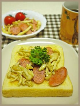 きのこと魚肉ソーセージのマヨネーズ炒め