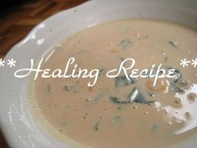 ●小松菜とコーンのクリーミィ豆乳スープ●