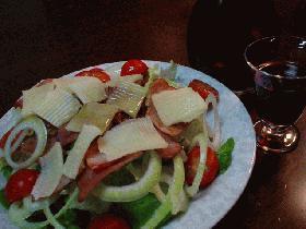 クレソンとベーコンのサラダ、バルサミコドレッシング。