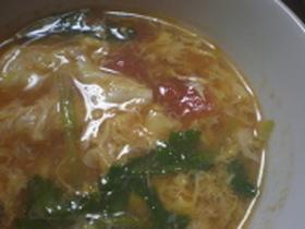 缶詰で簡単☆トマトと玉子の中華スープ