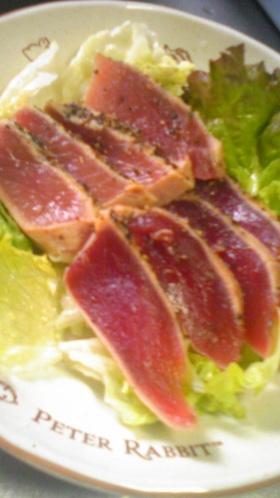 マグロのステキな黒胡椒ステーキ(たたき)