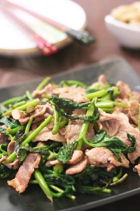 【山うどレシピ・葉】山うどと豚肉の塩炒め