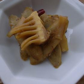 ごぼうとたけのこの酢醤油炒め煮