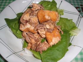 ☆厚揚げと豚肉のサラダ盛り丼☆