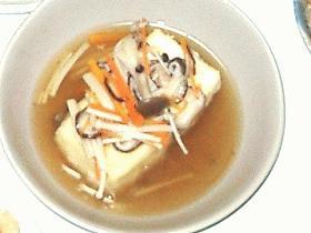 あったかーい☆揚げ出し豆腐のキノコスープかけ