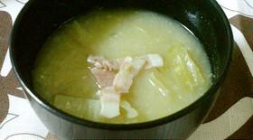 春キャベツとベーコンの味噌汁