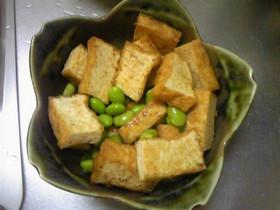 簡単・厚揚げと枝豆のわさび醤油あえ