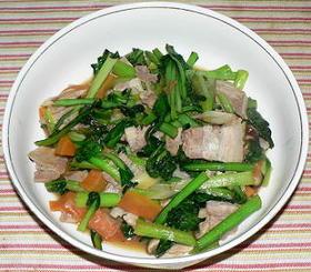 豚バラ肉と小松菜のオイスターソース炒め