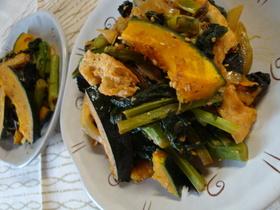 菜の花と油揚げのごま味噌炒め