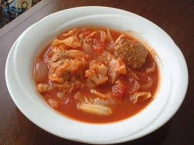 簡単☆濃厚トマトのハンバーグスープ