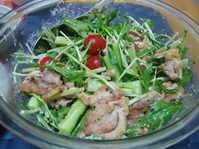 豚肉と水菜のフレンチマヨサラダ♪